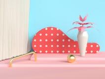 vaso dell'albero del pavimento di rosa della parete di scena dell'estratto di punti/barattolo blu 3d rendere royalty illustrazione gratis