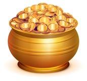 Vaso dell'oro in pieno delle monete di oro Fotografia Stock