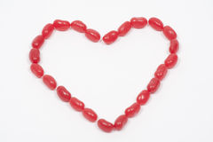 Vaso della caramella del cuore del Jellybean fotografia stock libera da diritti