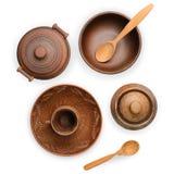 Vaso delle terraglie, piatto, tazza isolata su fondo bianco con la clip Fotografia Stock Libera da Diritti