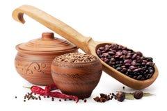 Vaso di argilla, cucchiaio di legno, lenticchie, fagioli e spezie Fotografia Stock Libera da Diritti