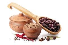 Vaso di argilla, cucchiaio di legno, lenticchie, fagioli e spezie Fotografia Stock