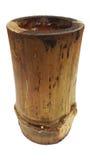 Vaso di bambù di legno della tazza isolato su fondo bianco, stile d'imballaggio della natura, canestro del carbone Immagine Stock Libera da Diritti