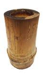 Vaso di bambù di legno della tazza isolato su fondo bianco, stile d'imballaggio della natura, canestro del carbone Immagini Stock