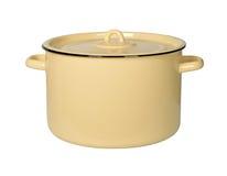 Vaso di cottura giallo Fotografie Stock
