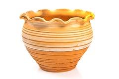Vaso di fiore ceramico isolato su bianco Immagine Stock Libera da Diritti