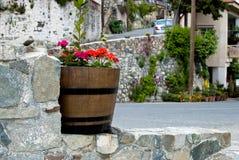 Vaso di fiore sulla via Fotografie Stock Libere da Diritti