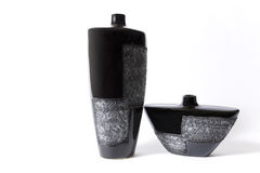 Vaso di fiore vuoto nero moderno Immagine Stock Libera da Diritti