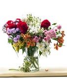 Vaso di fiori su tessuto Fotografia Stock