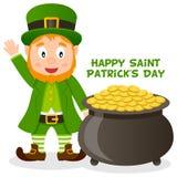 Vaso di giorno di Patrick s di oro e del leprechaun Immagini Stock Libere da Diritti
