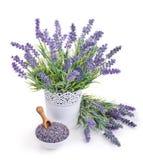 Vaso di lavanda e della ciotola con i fiori secchi Immagine Stock