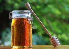 Vaso di miele con il bastone di stir Fotografia Stock Libera da Diritti