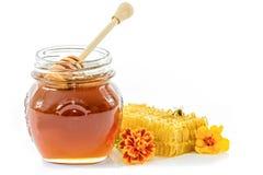 Vaso di miele fresco Fotografia Stock