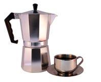Vaso e tazza di caffè di Moka Fotografia Stock Libera da Diritti