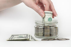 Vaso di vetro con i soldi Fotografie Stock