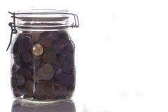 Vaso di vetro con soldi Fotografia Stock Libera da Diritti