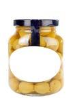 Vaso di vetro delle olive Fotografie Stock