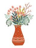 vaso disegnato a mano dei fiori, delle foglie e dei rami Immagini Stock Libere da Diritti