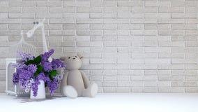Vaso do roxo, da gaiola de pássaro, do urso de peluche e do girafa para as crianças - 3 Imagens de Stock
