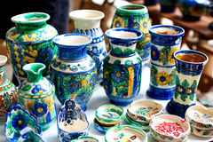 Vaso e bandejas cerâmicos Imagens de Stock
