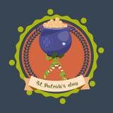 Vaso felice di Logo Leprechaun Man Hold Big del modello di giorno della st Patricks con le monete dorate Fotografia Stock