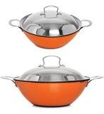 Vaso/ghisa di cottura arancio che cucina vaso, isolato su bianco Fotografie Stock Libere da Diritti