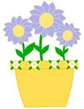Vaso giallo con i fiori viola Fotografie Stock Libere da Diritti