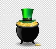 Vaso in pieno delle monete dorate e del cappello verde isolati su trasparente Immagini Stock
