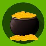 Vaso in pieno delle monete dorate per il giorno del ` s di San Patrizio E Vector l'illustrazione, stile piano su fondo verde Fotografia Stock Libera da Diritti