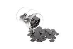 Vaso in pieno delle monete polacche da uno Zloty Fotografie Stock Libere da Diritti