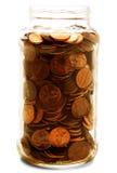 Vaso in pieno di noi monete Fotografia Stock Libera da Diritti