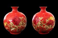 Vaso rosso della porcellana Immagini Stock