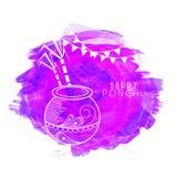 Vaso tradizionale del fango per la celebrazione felice di Pongal Fotografia Stock