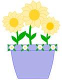 Vaso viola sveglio con i fiori gialli Fotografie Stock