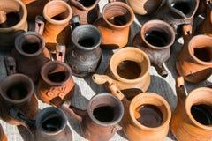Vasos cerâmicos A vista da parte superior Foto de Stock Royalty Free