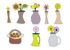 Vasos de flor bonitos dos desenhos animados Fotografia de Stock Royalty Free