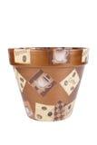 Vasos de flores cerâmicos com os desenhos isolados no fundo branco Imagens de Stock Royalty Free
