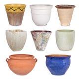 Vasos de flores diferentes, isolados imagens de stock royalty free
