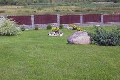 Vasos de flores grandes com flores amarelas e arbusto decorativo em um summ Foto de Stock