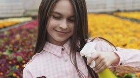 Vasos de flores de pulverização da menina bonita feliz na estufa lentamente filme