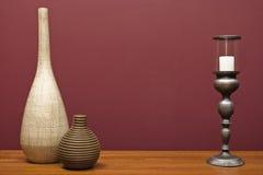 Vasos e um castiçal Fotos de Stock Royalty Free
