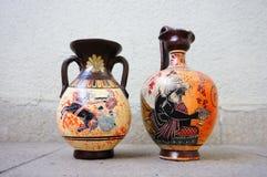 Vasos gregos cerâmicos Fotografia de Stock Royalty Free