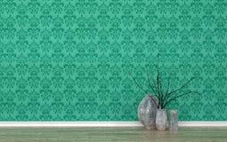 Vasos na sala com papel de parede verde modelado Foto de Stock Royalty Free
