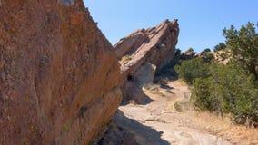Vasquez Rift. Pan of hot desert terrain on the Pacific Crest Trail stock video