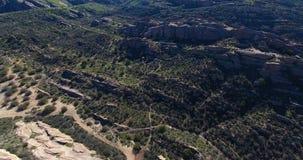 Vasquez rocks aerial drone footage in 4k 24 fps. Vasquez rocks aerial drone footage stock video footage