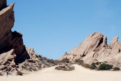 Vasquez Rocks in California desert stock photography