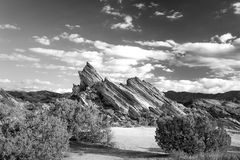Vasquez Rocks Natural Area Park in Black and White Stock Images