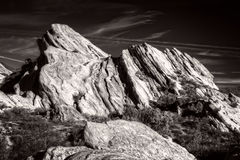 Vasquez Rocks Natural Area Park in Black and White Royalty Free Stock Image