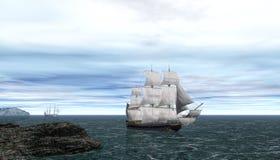 Vassels navegating  blue sea. 3D rendering of galleons on blue sky Royalty Free Stock Images