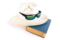 Vasshatt, solglasögon och bok svalnar den blåa affärsjulen för abstrakt bakgrund 3d det ditt purpura framförda temat för stora vy Royaltyfri Bild
